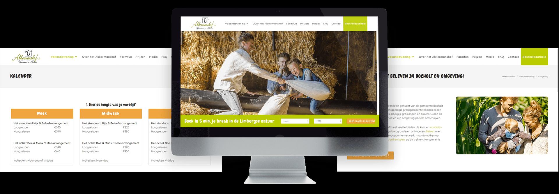 Website met online boekingtool voor vakantieboerderij Akkermanshof