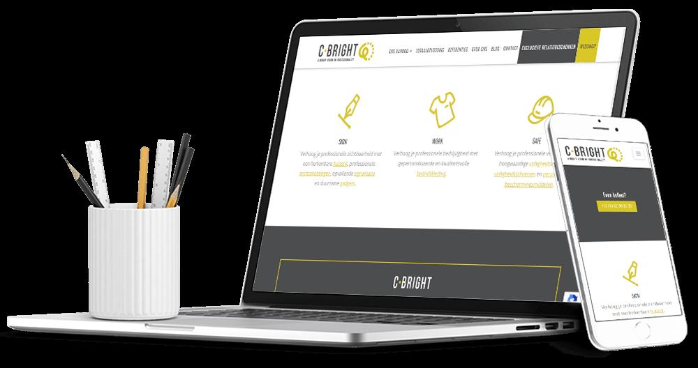 Website voor Tiny Cammaert van C Bright, specialist in bedrijfskleding veiligheidskleding en relatiegeschenken