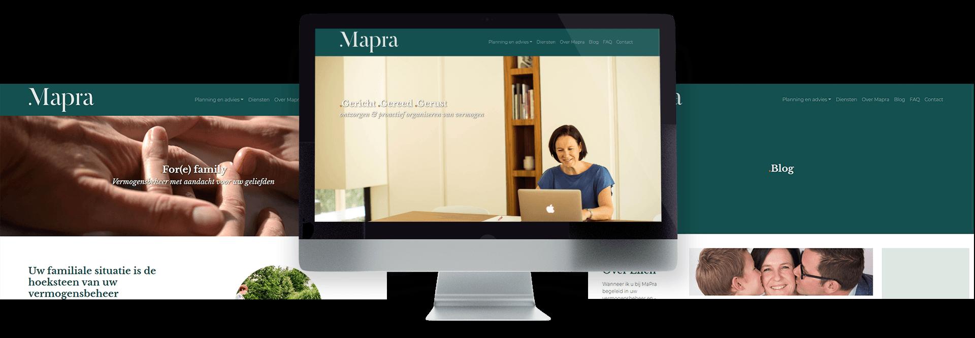 moderne website voor Ellen Maris van vermogensplanner MaPra