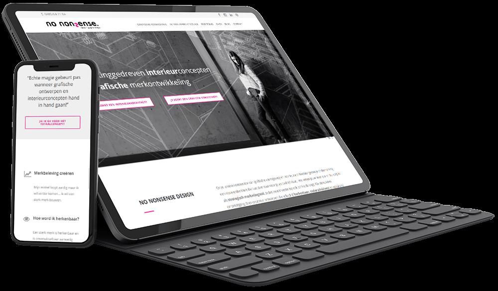Moderne website met videoheader voor No Nonsense Design interieurarchitect en grafisch vormgever uit Genk