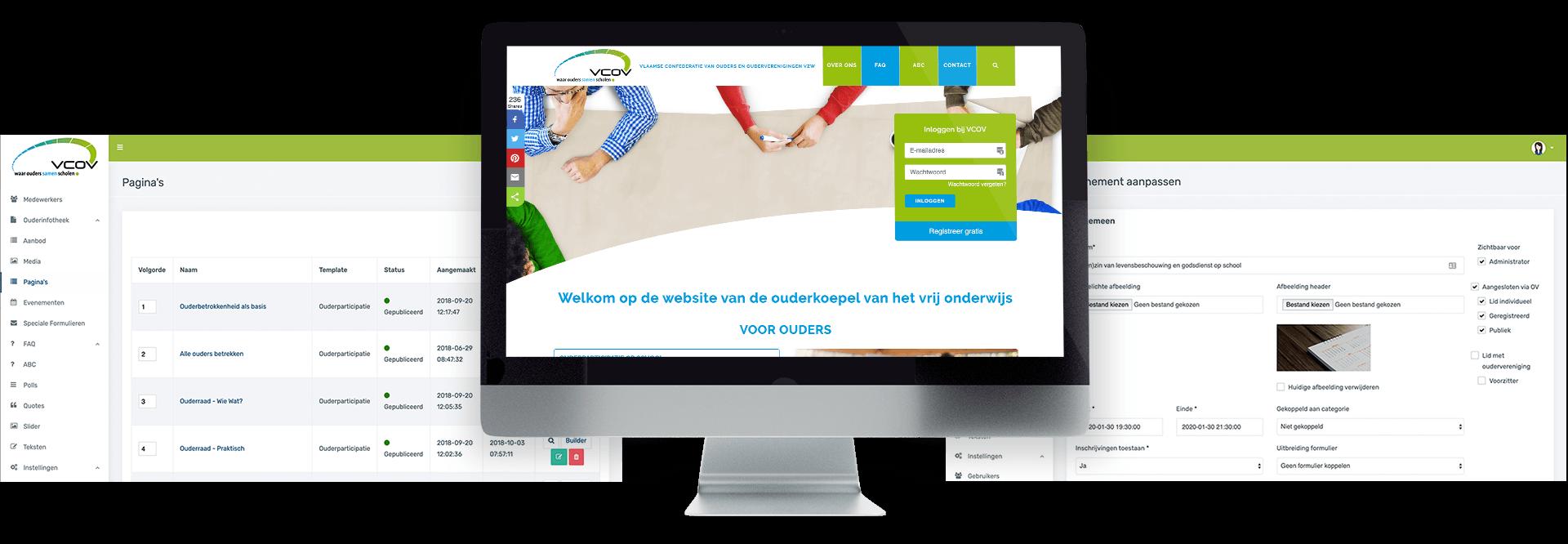 Website met ledenportaal online platform voor vereniging VCOV