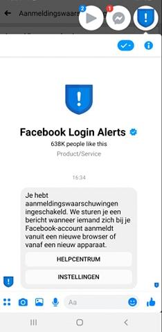 Facebook login alerts bericht