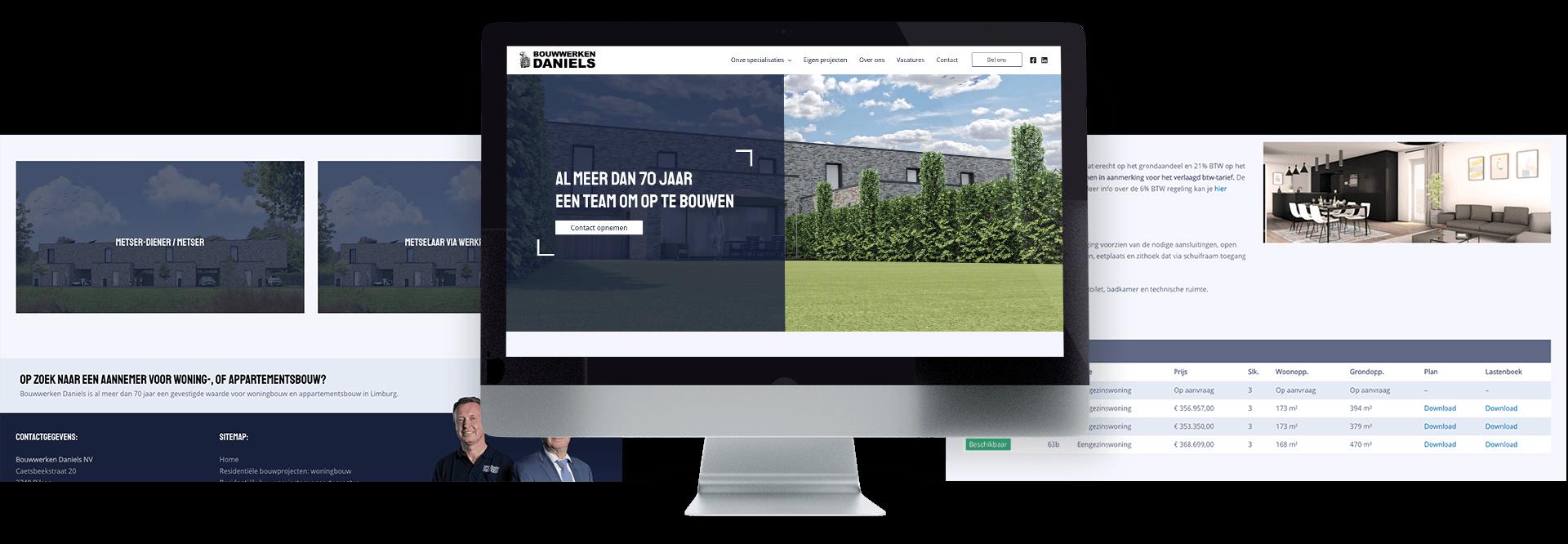 Website van bouwbedrijf Bouwwerken Daniels