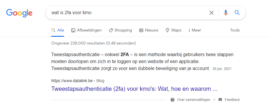 2FA kmo featured snippet